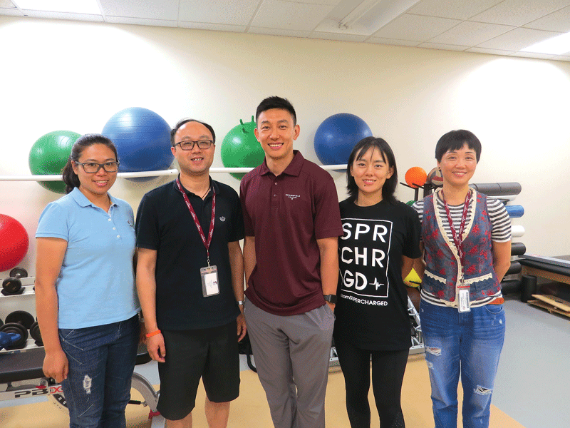 Springfield College's recent visitors from China included, from left, Wang Di, Dr. Huang Yizhuan, Cao Xiaojie, Wang Xinran, and Li Dehua.