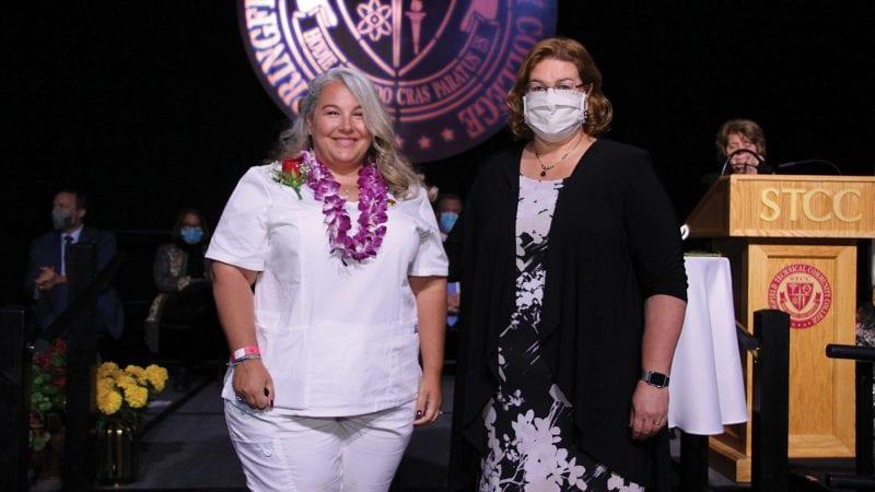 Miranda Lebel (left, with STCC Dean of Nursing Lisa Fugiel)
